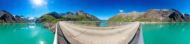 Circular panorama of Stausee Mooserboden Dam near Kaprun, Austria bildbanksfoto