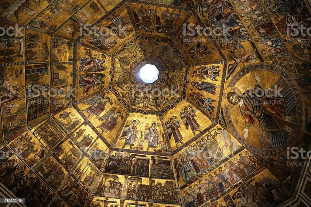 Circular picture with Christ in Cupola Baptistery San Giovanni, Florence stock photo