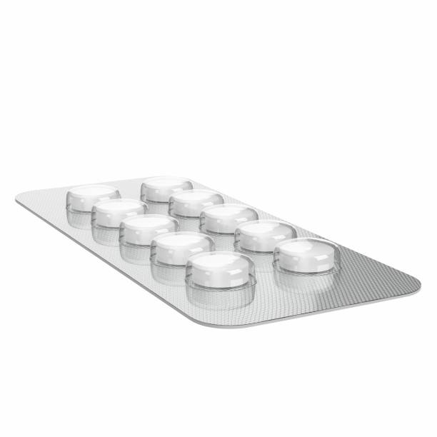 Circular pills in a blister pack - foto stock