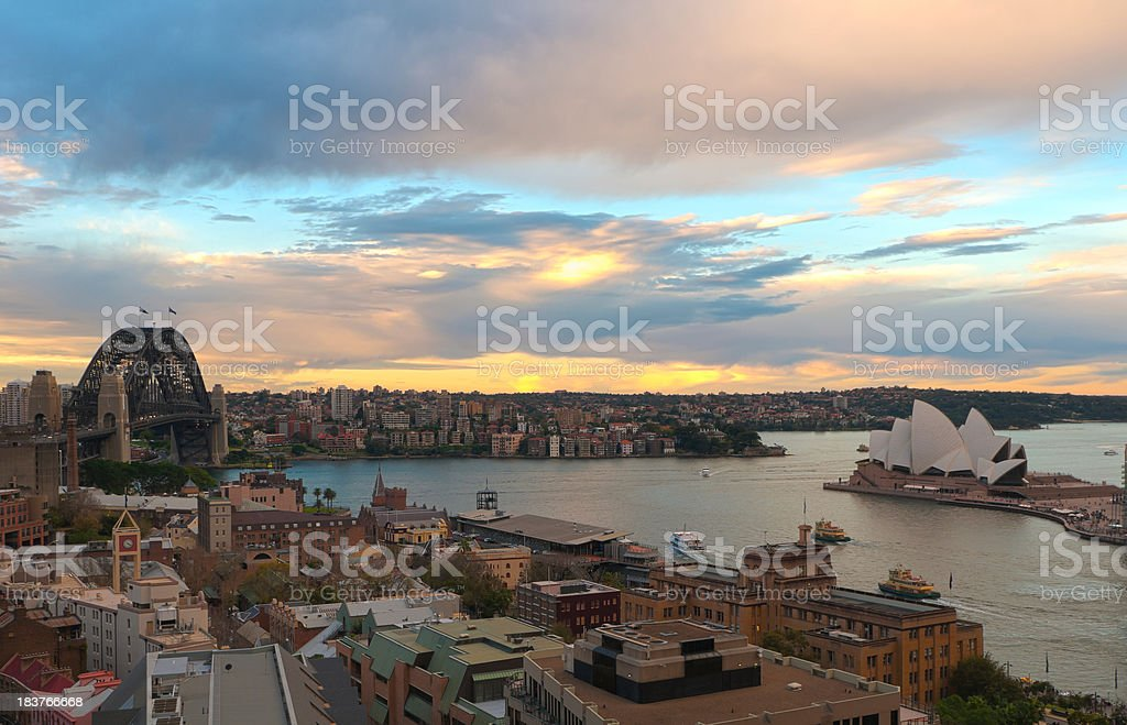 Circular Quay and Sydney Harbor From Above at Sunset stock photo