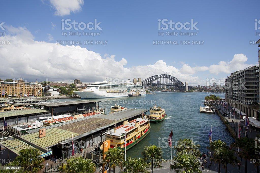Circular Quay, and the Sydney Harbour Bridge stock photo