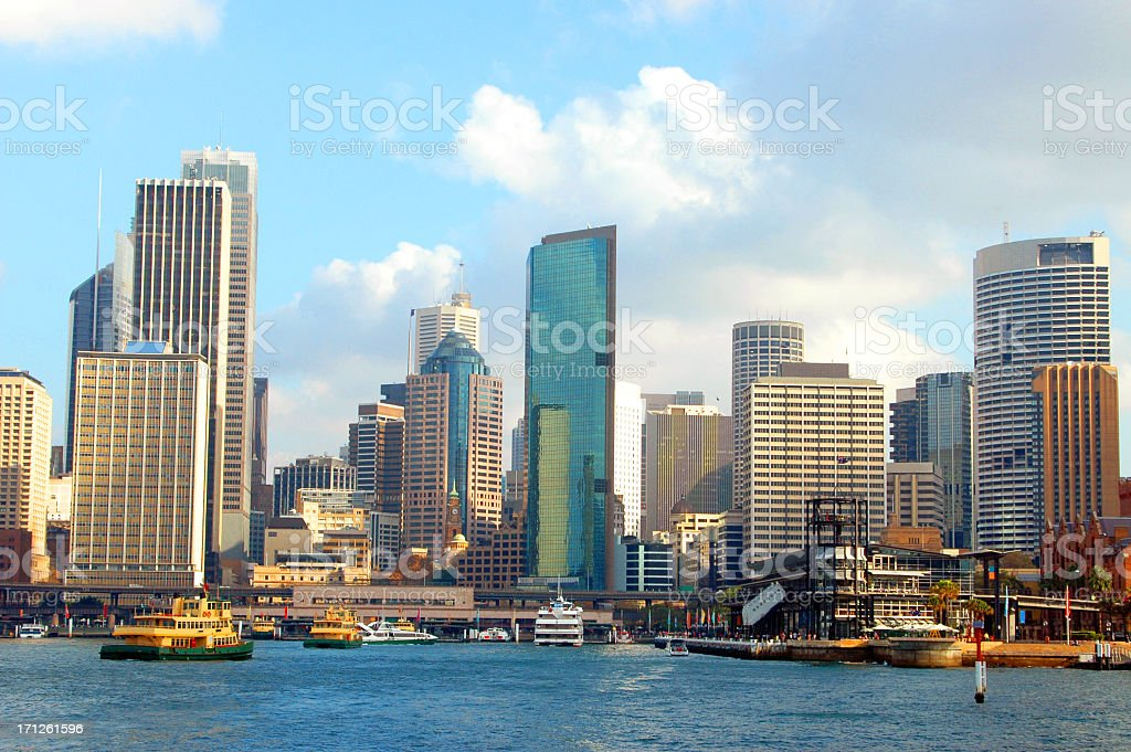 Circular quay of Sydney skyline stock photo