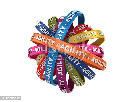 istock Circular Ribbons with AGILITY Word - 3D Rendering 1165538512