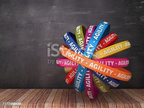 istock Circular Ribbons with AGILITY Word on Chalkboard Background - 3D Rendering 1172468439