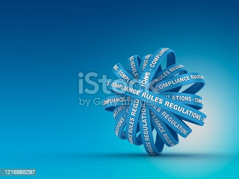 Circular Ribbons with COMPLIANCE RULES REGULATIONS Words - 3D Rendering