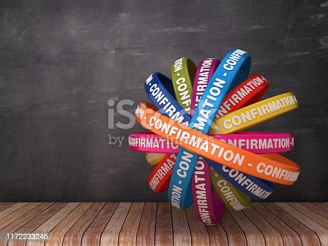 Circular Ribbons with CONFIRMATION Word on Chalkboard Background - 3D Rendering