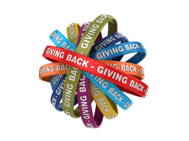 circular ribbons with giving back phrase - 3d rendering - charitable giving stock pictures, royalty-free photos & images