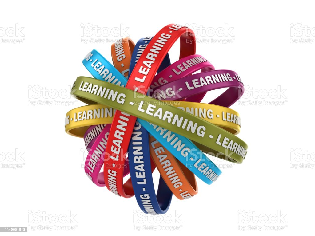 Circular Ribbons With Learning Word 3d Rendering Stock