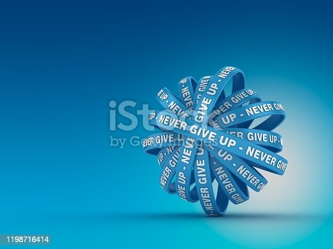 Circular Ribbons with NEVER GIVE UP Phrase - Blue Gradient Background - 3D Rendering