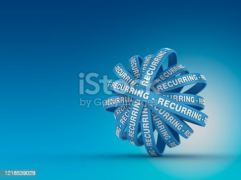 Circular Ribbons with RECURRING Word - 3D Rendering