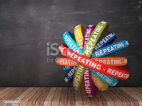Circular Ribbons with REPEATING Word - 3D Rendering
