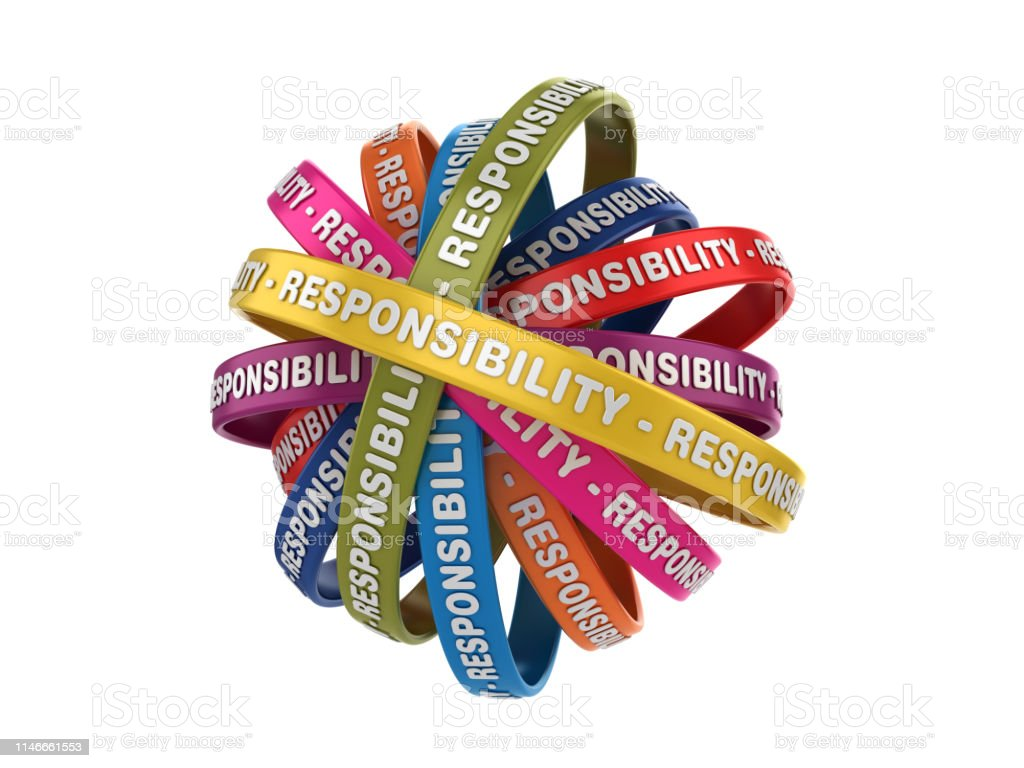 Circular Ribbons With Responsibility Word 3d Rendering ...