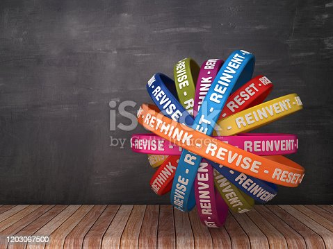 Circular Ribbons with RETHINK REVISE RESET Word - 3D Rendering