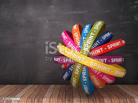 1144568268 istock photo Circular Ribbons with SPRINT Word on Chalkboard Background - 3D Rendering 1172788486