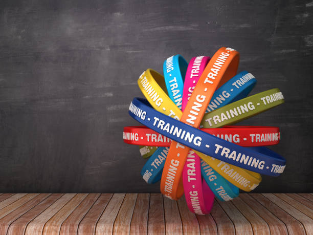circular ribbons with training word on chalkboard background - 3d rendering - training imagens e fotografias de stock
