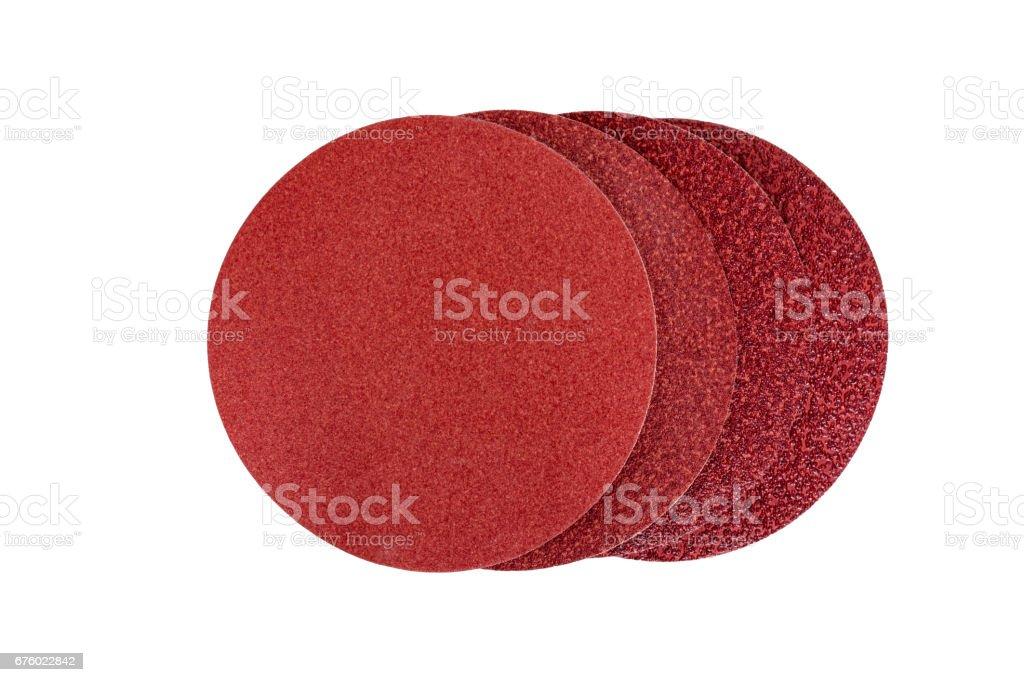 Circular sandpaper discs isolated stock photo