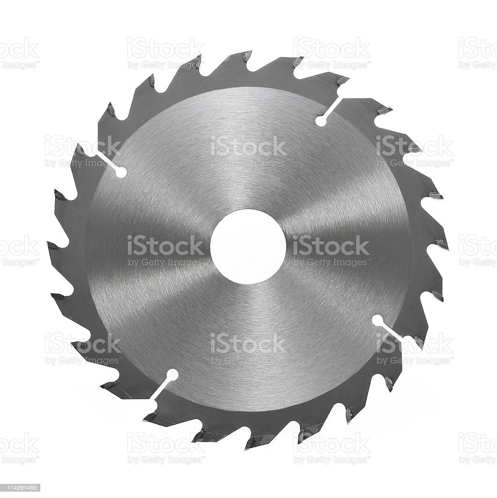 Circular saw blade for wood isolated on a white background stock photo