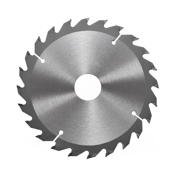 circular saw blade for wood isolated on a white background - cirkelzaag stockfoto's en -beelden