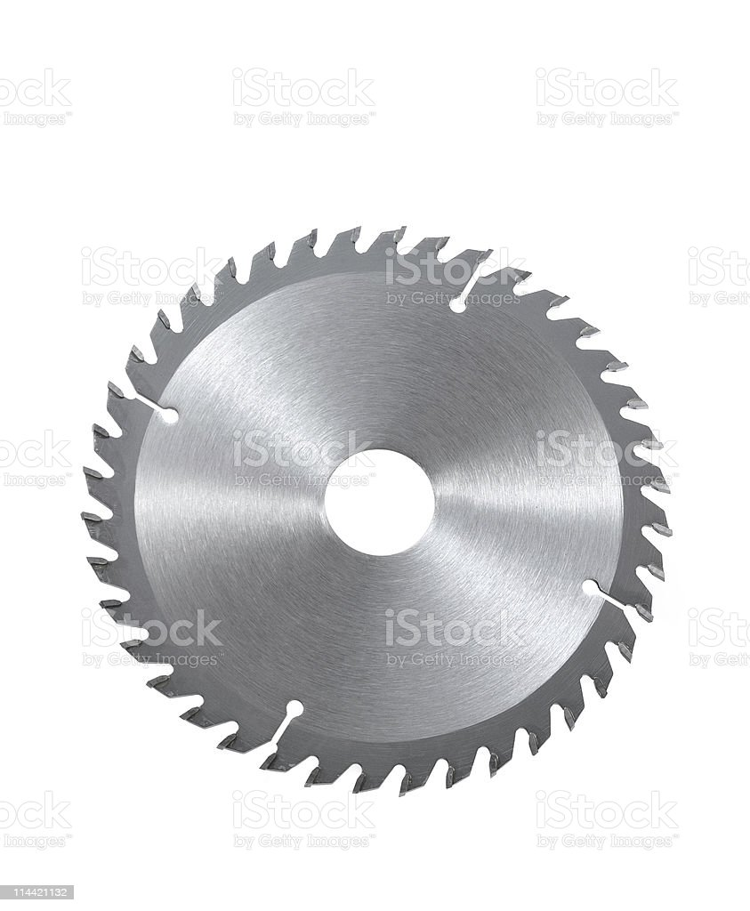 Circular saw blade for wood isolated on white background stock photo