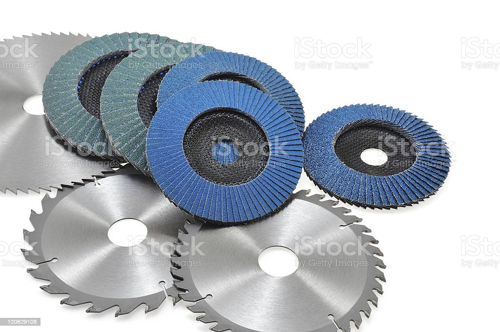 Circular saw blades and abrasive disks  isolated on white royalty-free stock photo