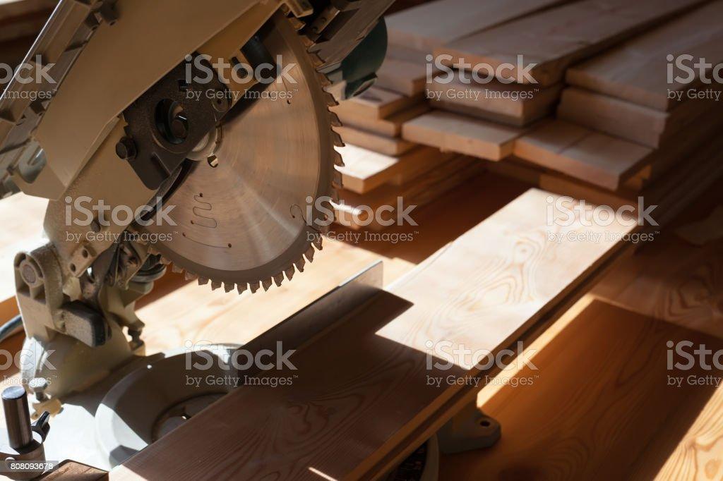 Circular saw. Carpentry. stock photo