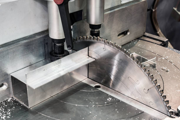 Circular saw for cutting aluminum stock photo