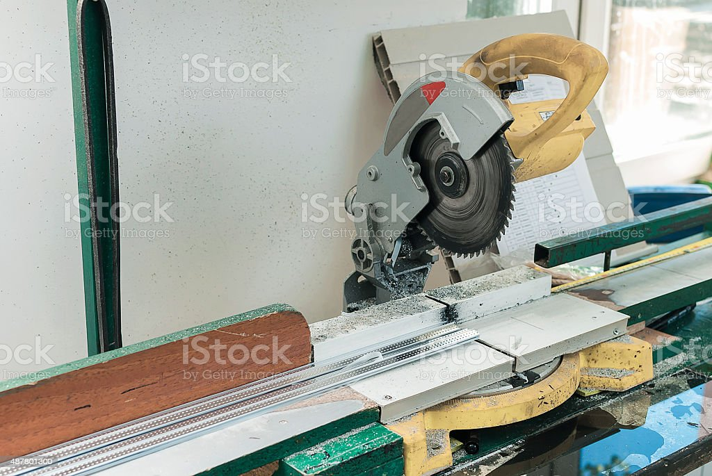 Circular Saw for PVC Windows and Doors Manufacturing stock photo