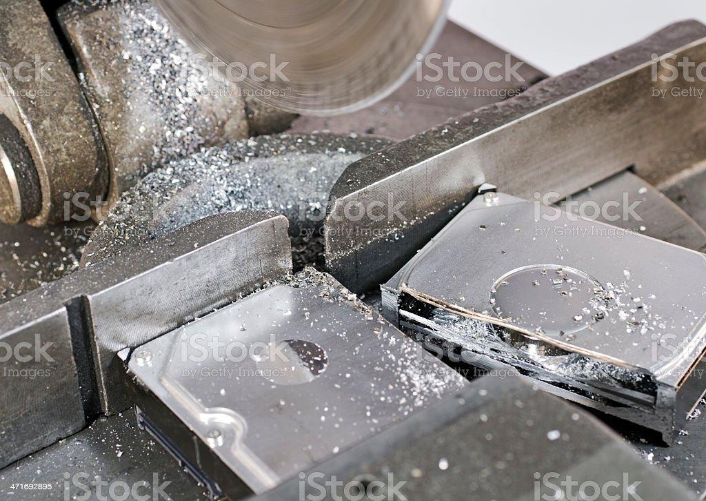 circular saw in close up, to abolish a hard disk stock photo