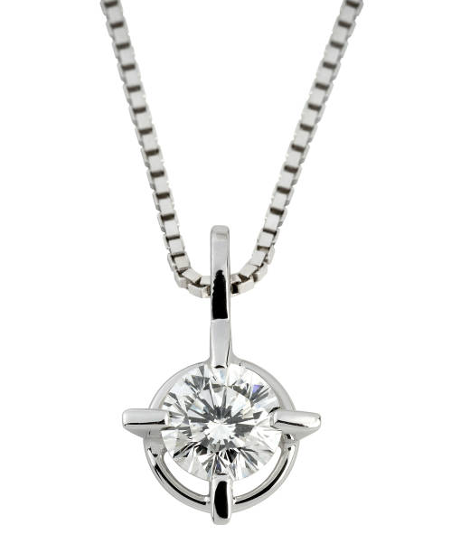 Circular solitaire diamond pendant in silver Circular solitaire diamond pendant with a large faceted gemstone in silver or platinum hanging on a box chain isolated on white amulet stock pictures, royalty-free photos & images
