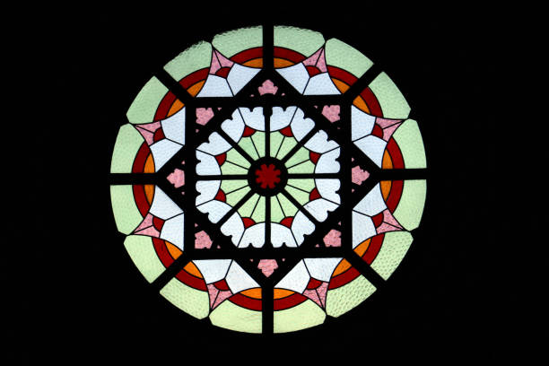 circular stained glass window. - rose window stock pictures, royalty-free photos & images