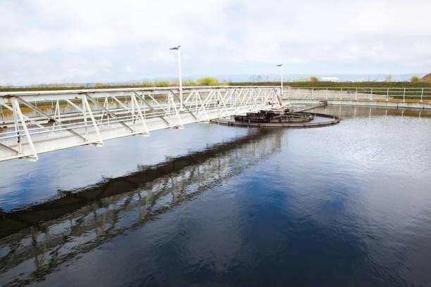 Circular Wastewater Clarifier Basin stock photo