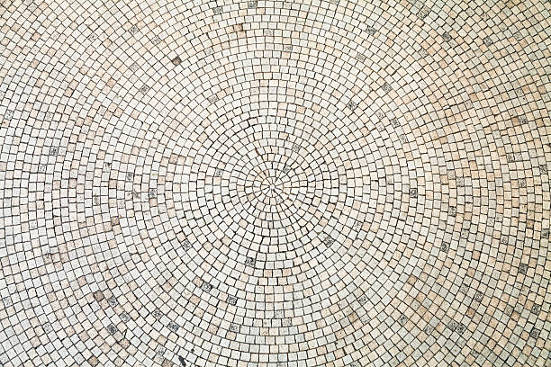 circular white tiles background - mozaïek stockfoto's en -beelden