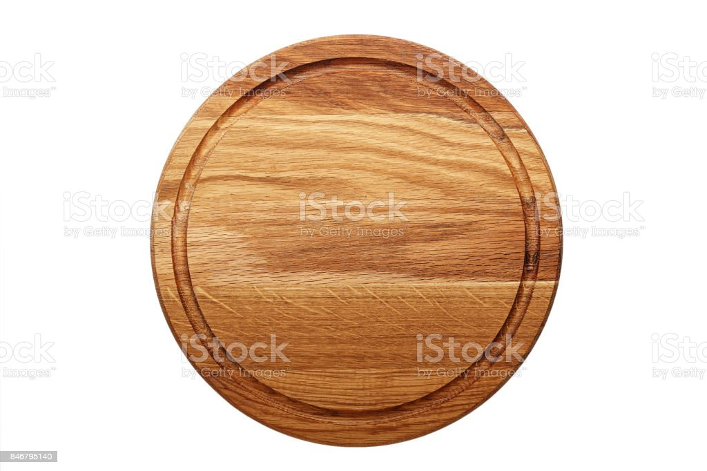 circular wooden cutting board stock photo