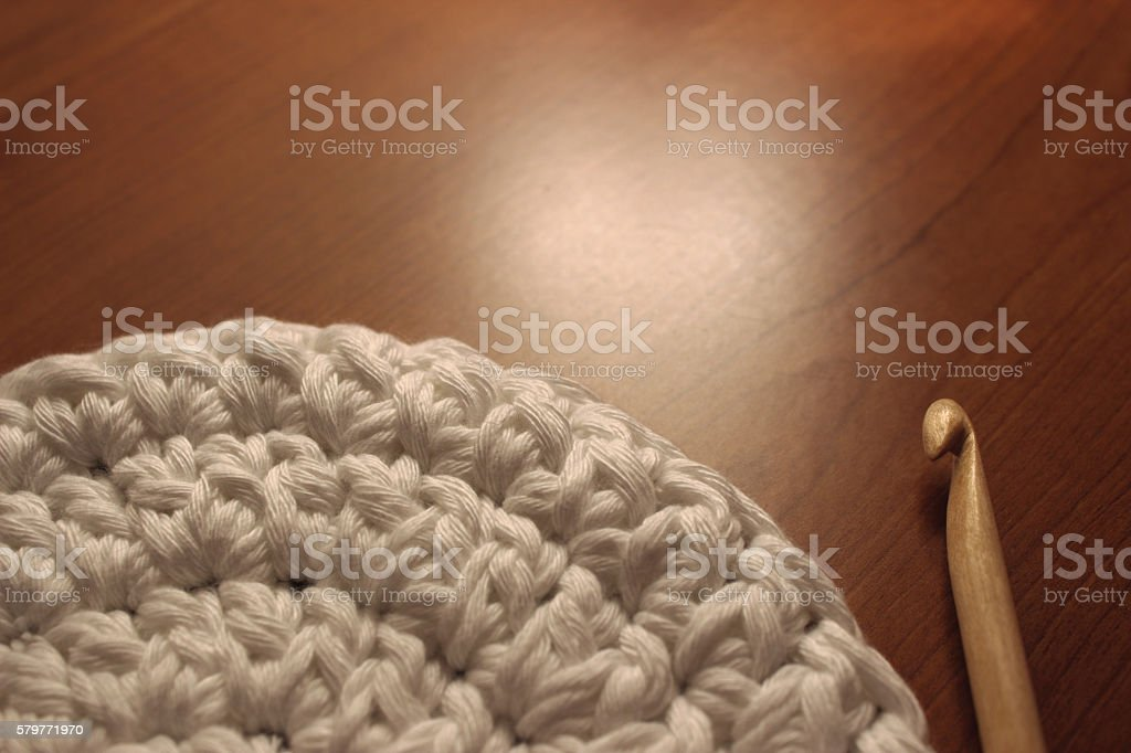 circular working with crochet stock photo