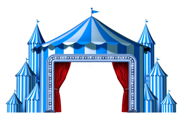 Circus Blue Tent Stage stock photo