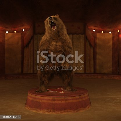 A bear on a stand inside a circus tent