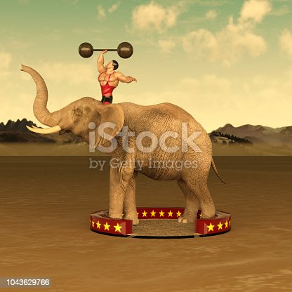 Old Fashioned Circus strongman and elephant