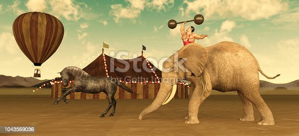 Circus Performers including elephants horses and lions