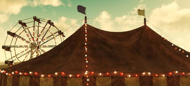 circus carnival tent and ferris wheel - circus zdjęcia i obrazy z banku zdjęć