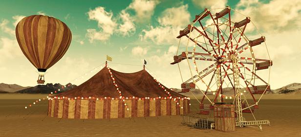 Retrospective Circus elements , Ferris Wheel Tent and Hot air balloon
