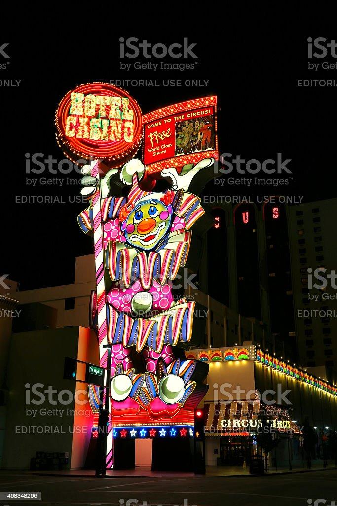 Circus Circus hotel and casino sigh at night, Reno, Nevada royalty-free stock photo