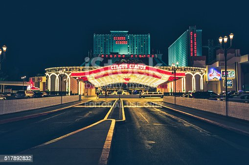 Las Vegas, USA - July 6, 2015: Entrance of Circus Circus Las Vegas Hotel And Casino on a summer night. On the center, the glass canopy shines with thousands of multi color bulbs.