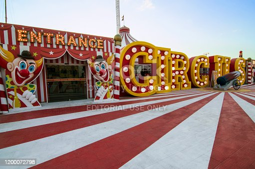 Dubai, United Arab Emirates - November 18, 2019: fun entrance to a circus makes you really get into the mood of clowns and acrobats. Its nostalgic look in red and white gives a special touch to it. This is one of attractions in Global Village, in dubai.