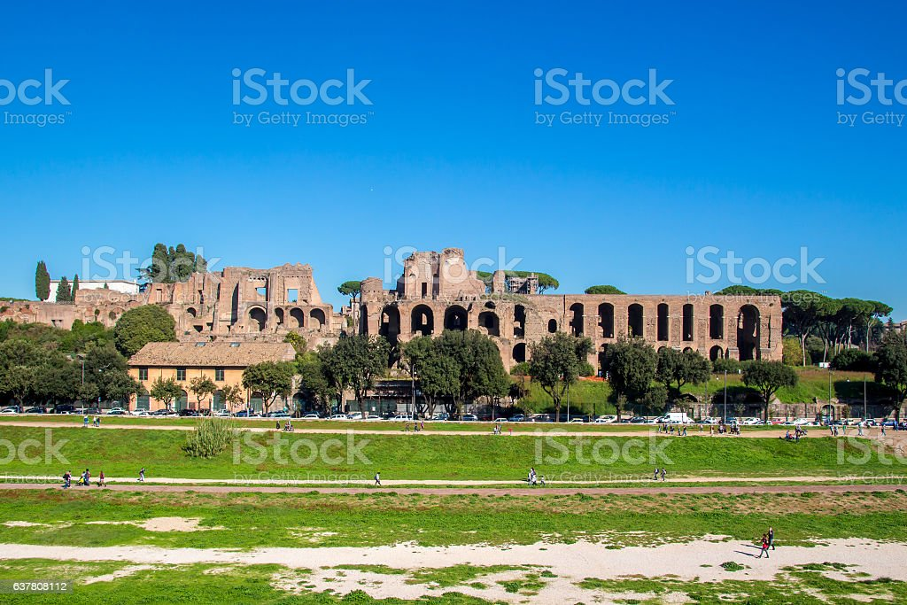 Circus Maximus and ruins of Palatine hill, in Rome, Italy stock photo