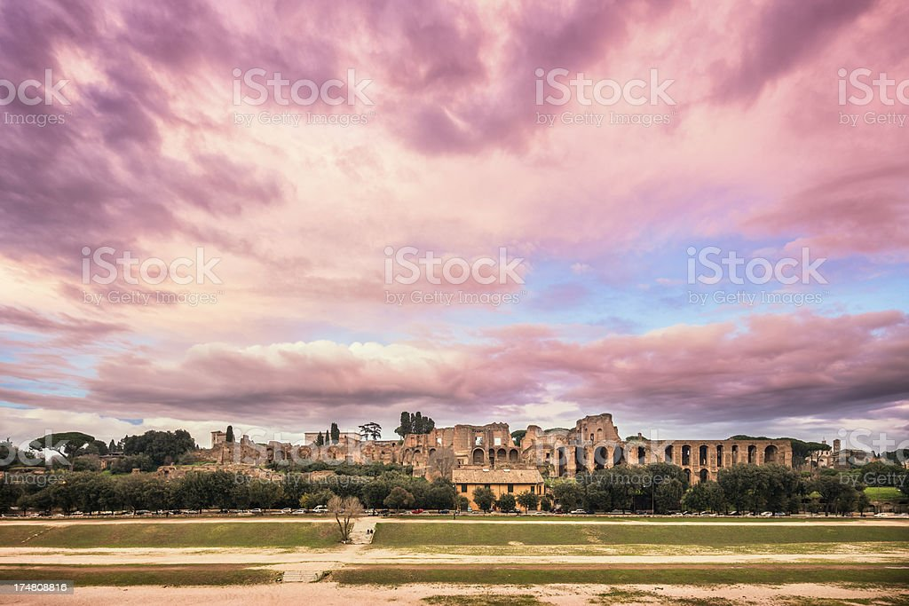 Circus maximus and The Palatine Hill in Rome, Italy royalty-free stock photo