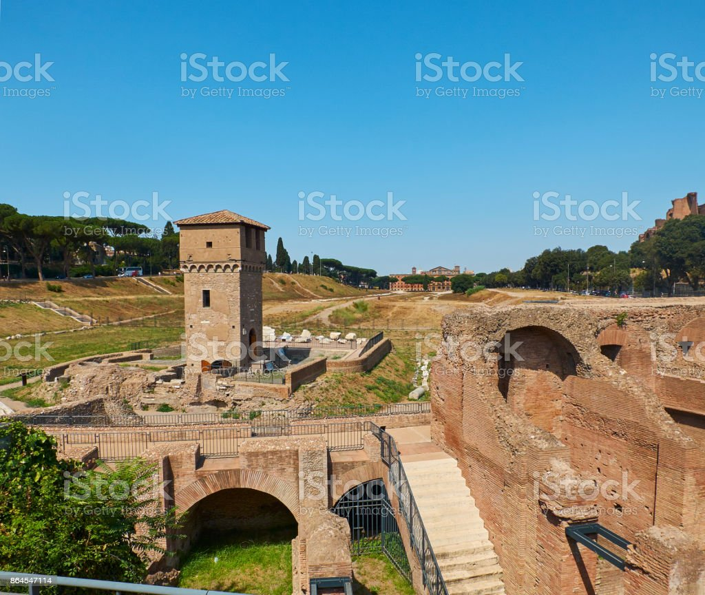 Circus Maximus in Palatine hill of Rome. Lazio, Italy. stock photo