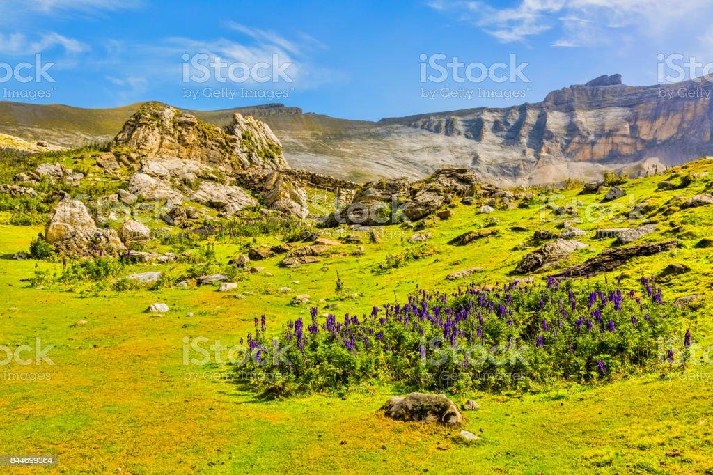 Circus of Troumouse in Pyrenees Mountains stock photo