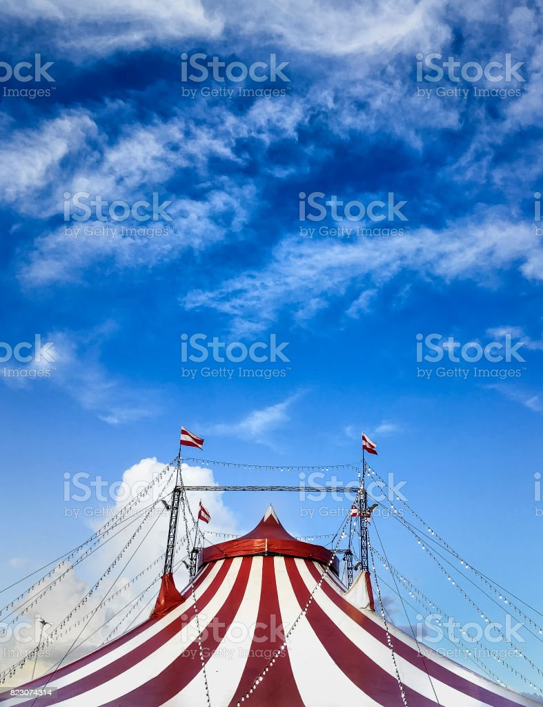 circus tent agains blue sky stock photo