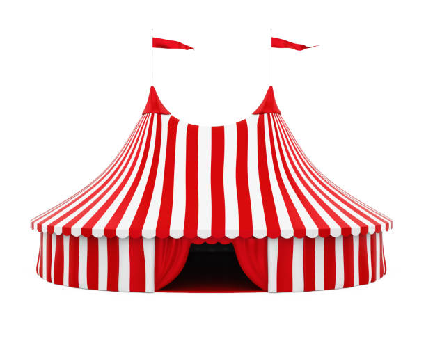 Circus Tent Isolated Circus Tent isolated on white background. 3D render tent stock pictures, royalty-free photos & images