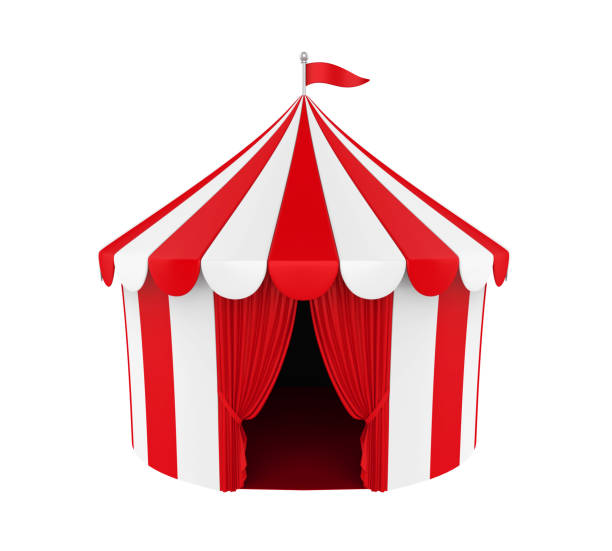 Circus Tent Isolated Circus Tent isolated on white background. 3D render entertainment tent stock pictures, royalty-free photos & images